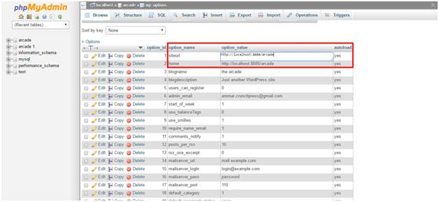 Migrate WordPress Site - phpMyAdmin wp-options